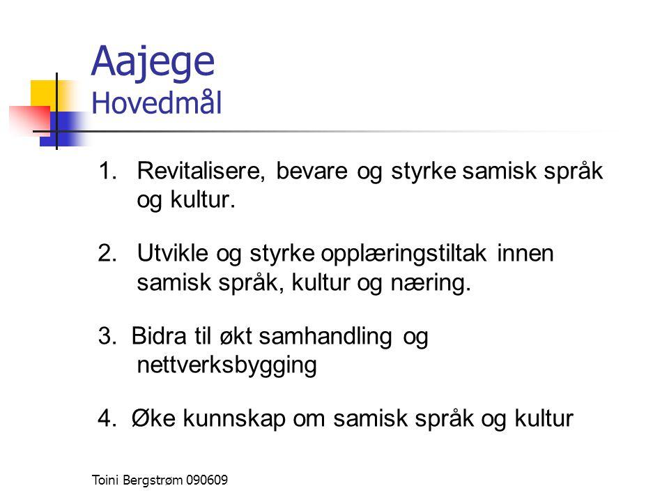 Aajege Hovedmål Revitalisere, bevare og styrke samisk språk og kultur.