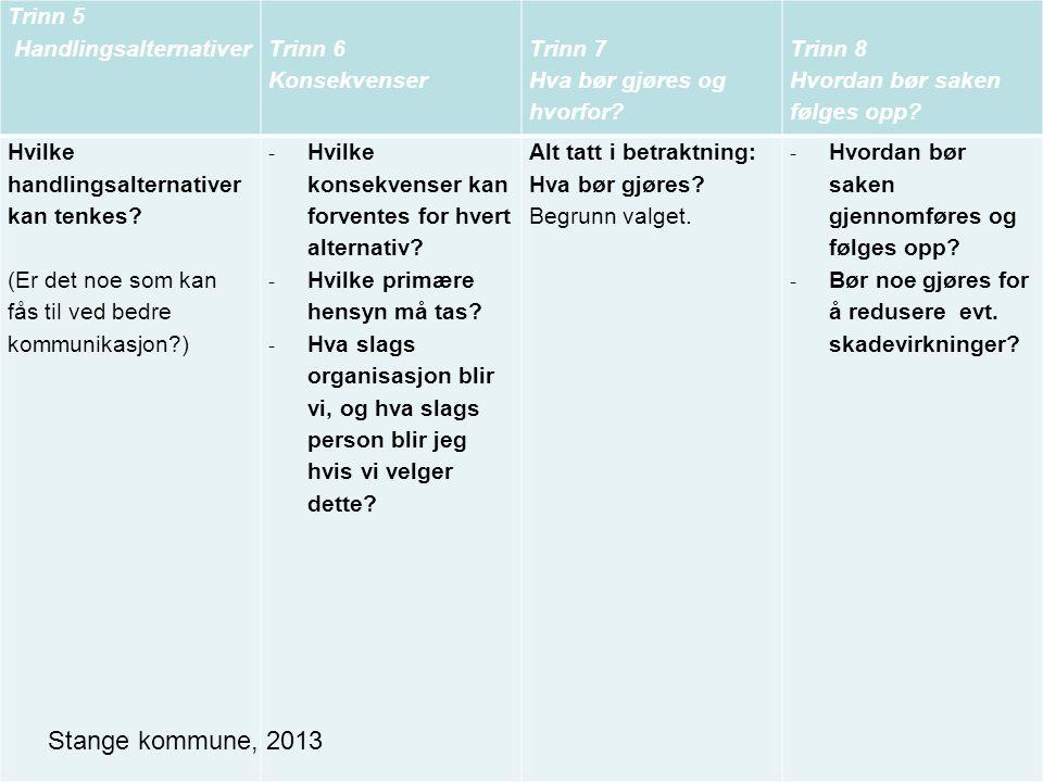 Stange kommune, 2013 Trinn 5 Handlingsalternativer Trinn 6