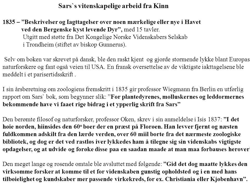 Sars`s vitenskapelige arbeid fra Kinn