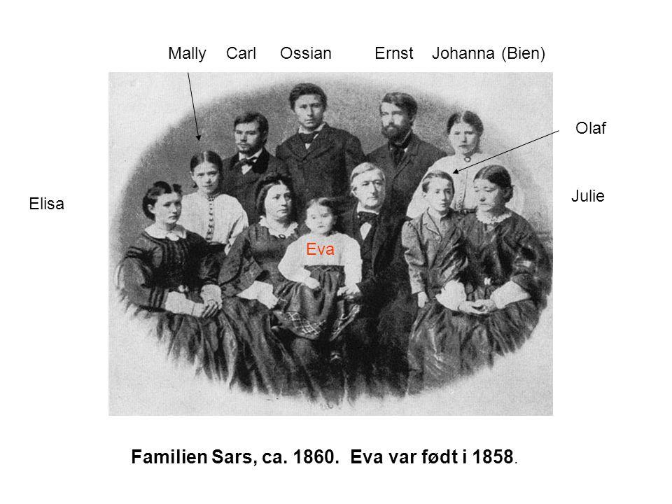 Familien Sars, ca. 1860. Eva var født i 1858.