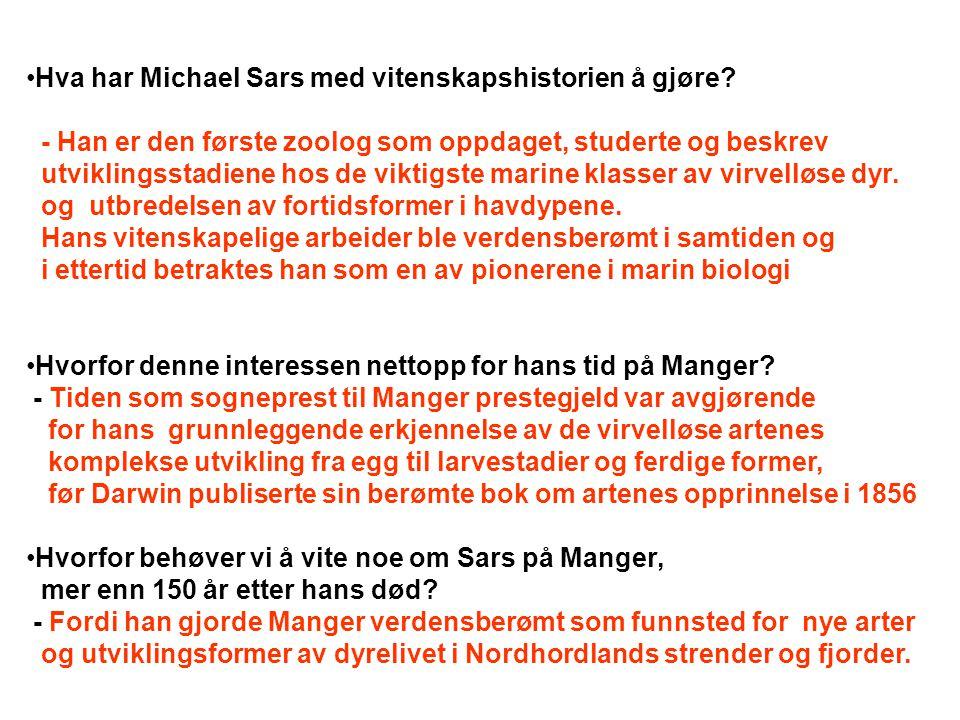 Hva har Michael Sars med vitenskapshistorien å gjøre