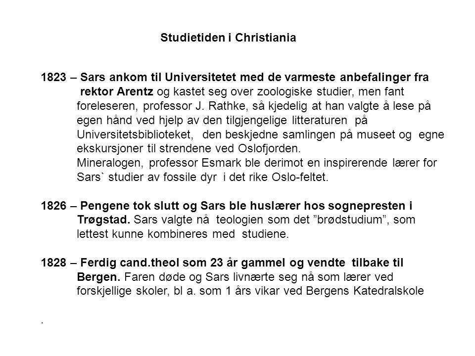 Studietiden i Christiania