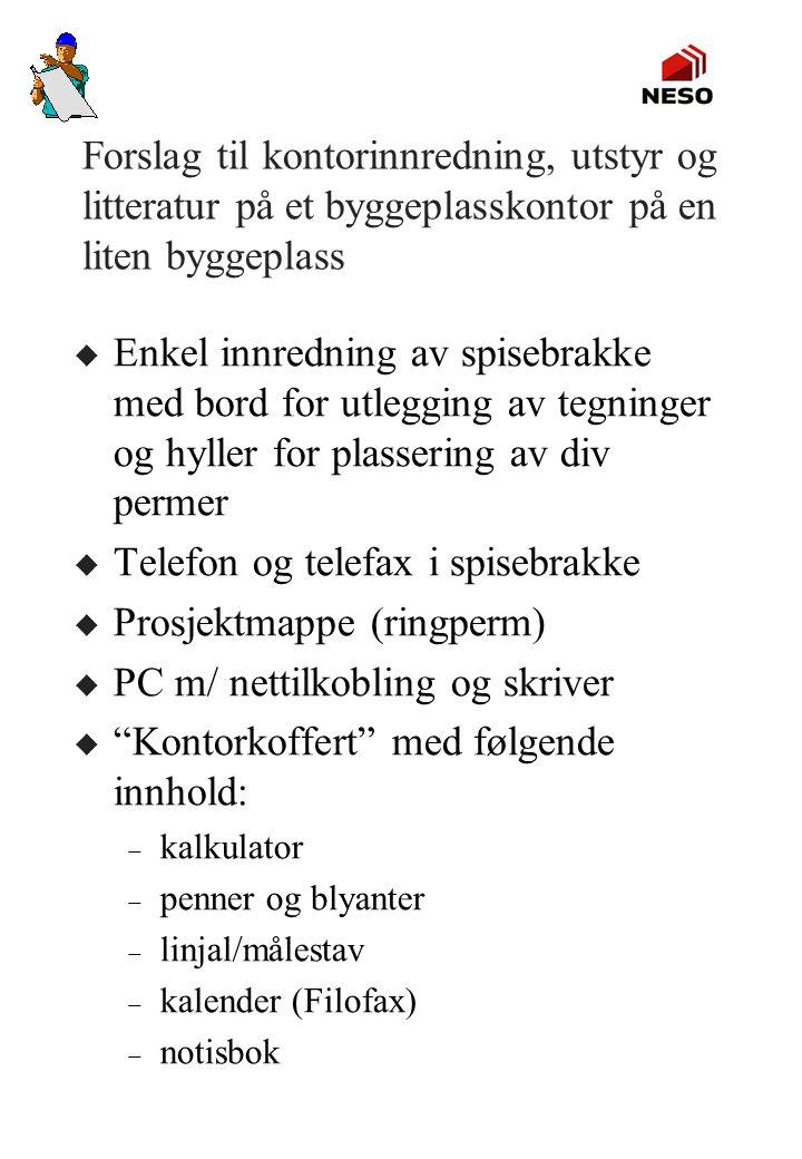 Telefon og telefax i spisebrakke Prosjektmappe (ringperm)