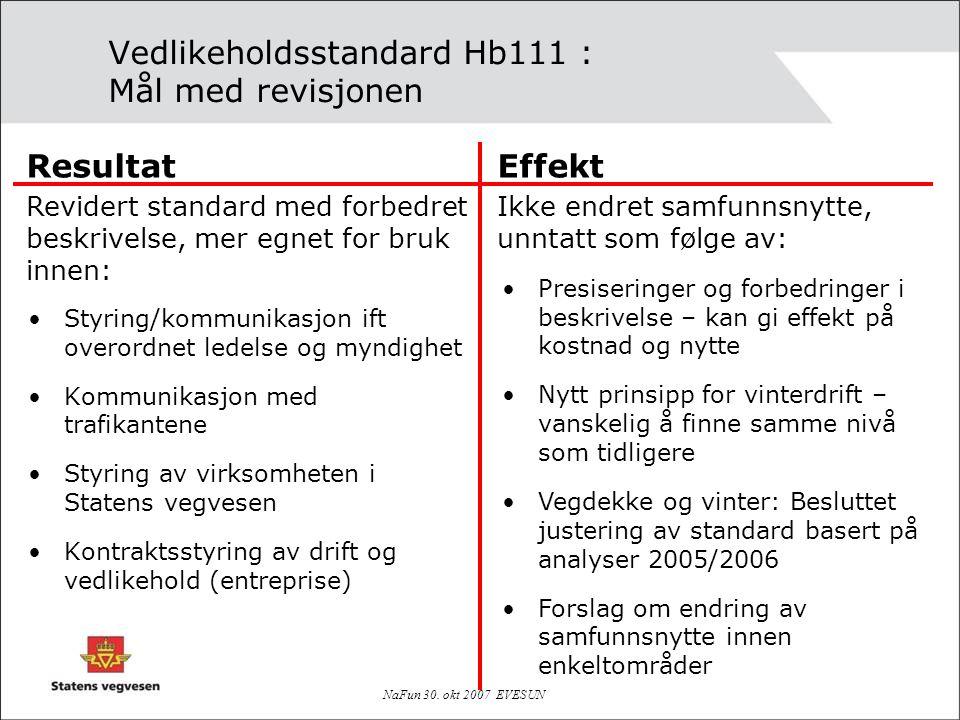 Vedlikeholdsstandard Hb111 : Mål med revisjonen