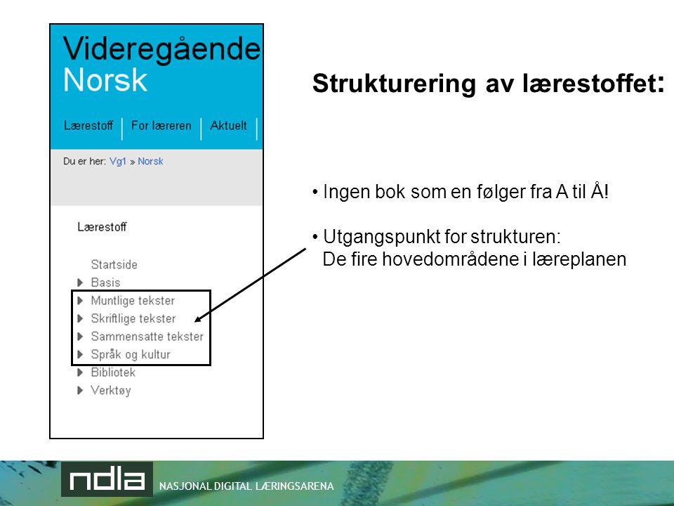 Strukturering av lærestoffet: