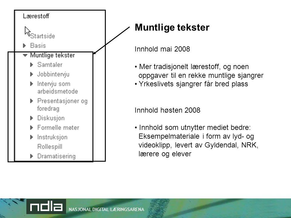 Muntlige tekster Innhold mai 2008