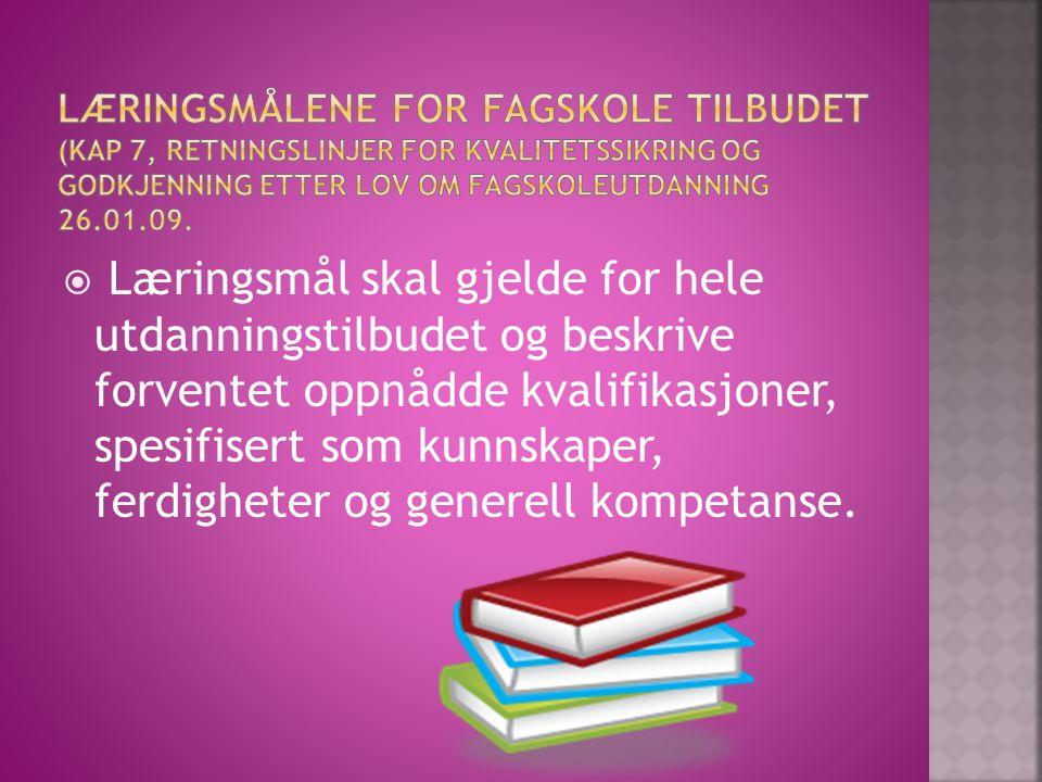Læringsmålene for fagskole tilbudet (Kap 7, retningslinjer for kvalitetssikring og godkjenning etter lov om fagskoleutdanning 26.01.09.