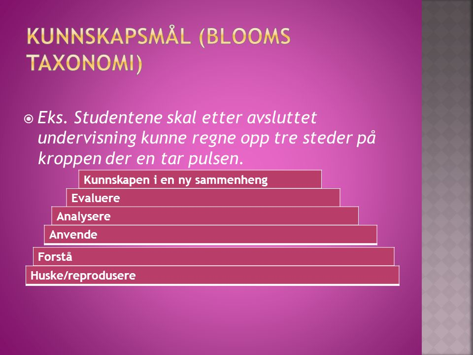 Kunnskapsmål (Blooms taxonomi)