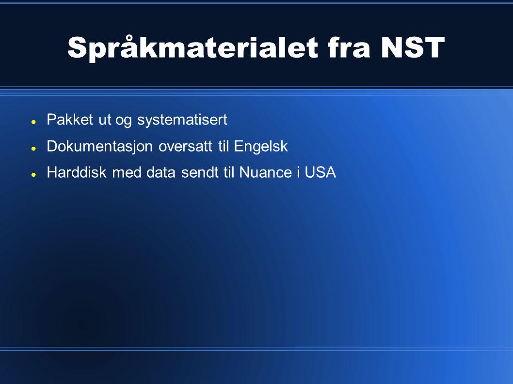 Språkmaterialet fra NST