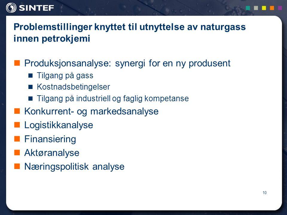 Problemstillinger knyttet til utnyttelse av naturgass innen petrokjemi