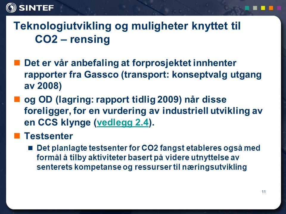 Teknologiutvikling og muligheter knyttet til CO2 – rensing