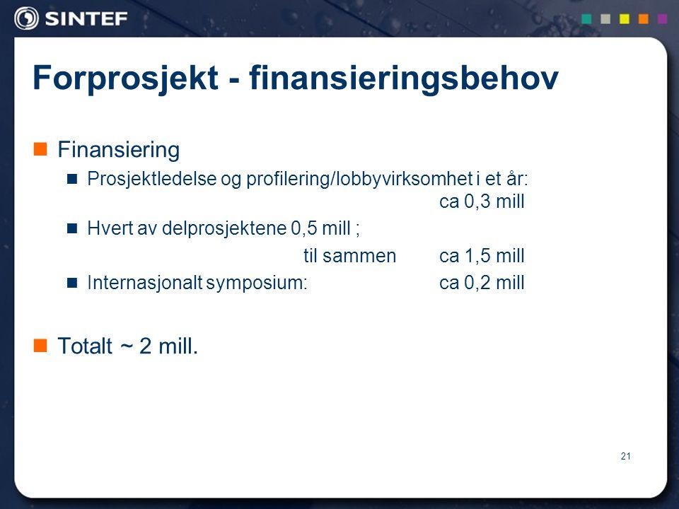Forprosjekt - finansieringsbehov