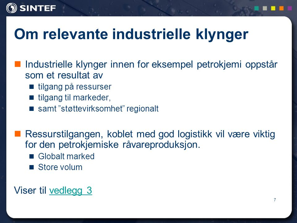 Om relevante industrielle klynger