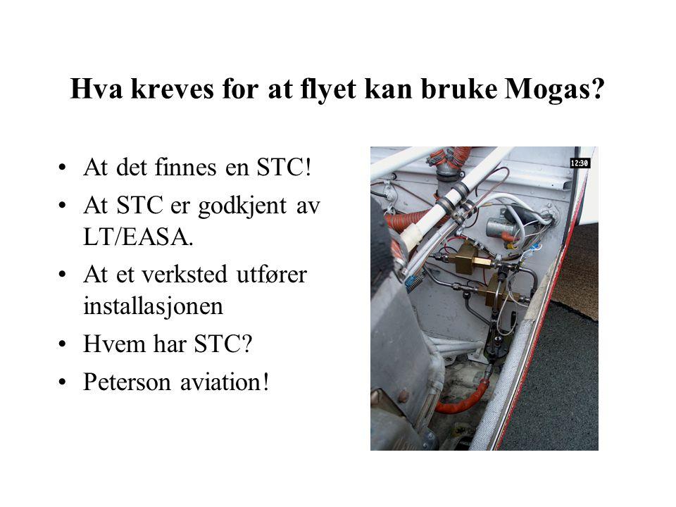 Hva kreves for at flyet kan bruke Mogas