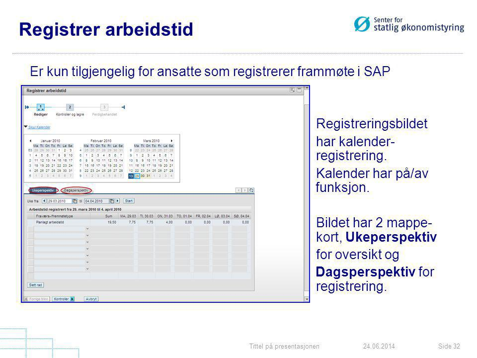 Registrer arbeidstid Er kun tilgjengelig for ansatte som registrerer frammøte i SAP. Registreringsbildet.