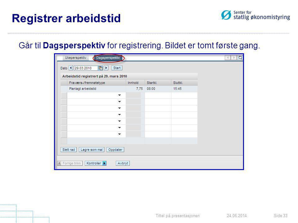 Registrer arbeidstid Går til Dagsperspektiv for registrering. Bildet er tomt første gang. Tittel på presentasjonen.