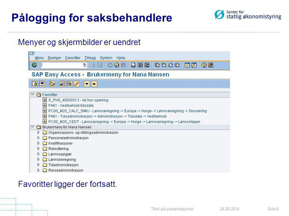 Pålogging for saksbehandlere