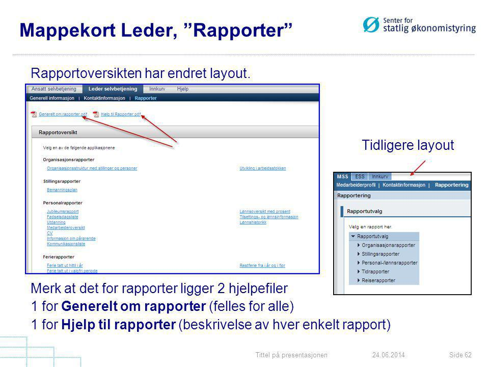 Mappekort Leder, Rapporter