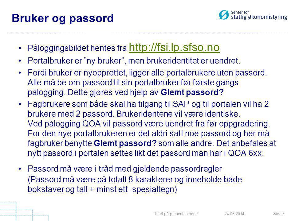 Bruker og passord Påloggingsbildet hentes fra http://fsi.lp.sfso.no