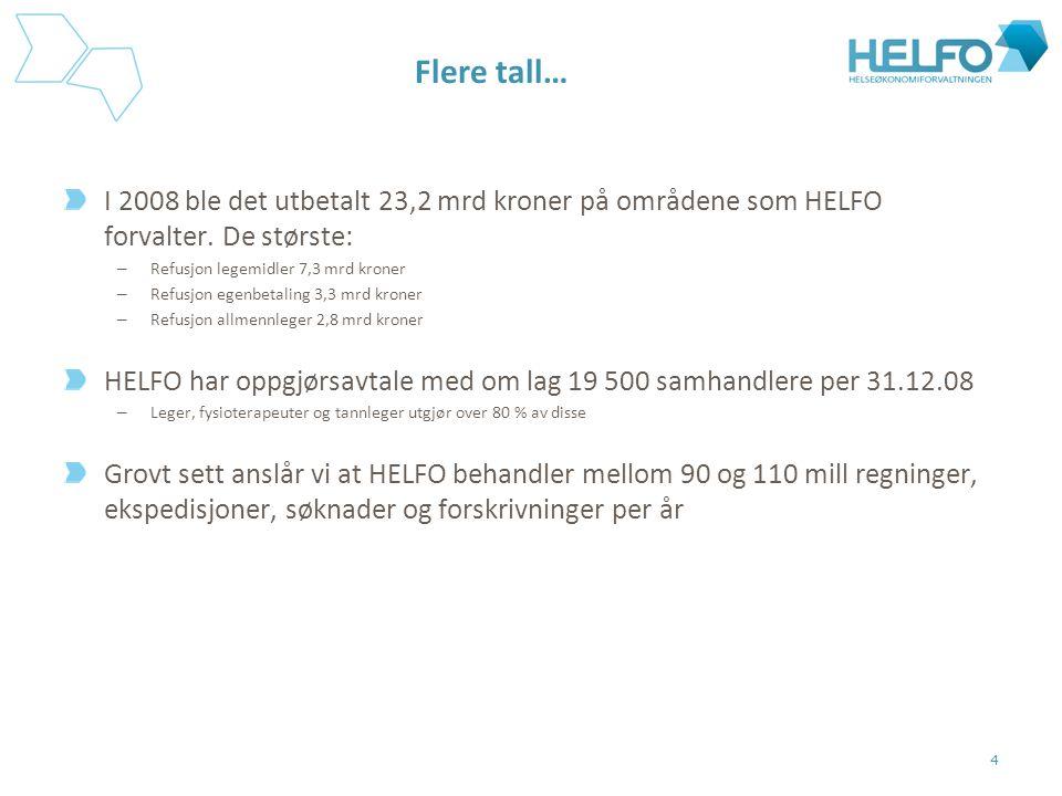 Flere tall… I 2008 ble det utbetalt 23,2 mrd kroner på områdene som HELFO forvalter. De største: Refusjon legemidler 7,3 mrd kroner.