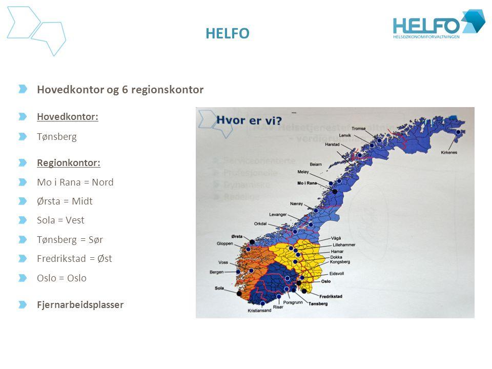 HELFO Hovedkontor og 6 regionskontor Hovedkontor: Tønsberg