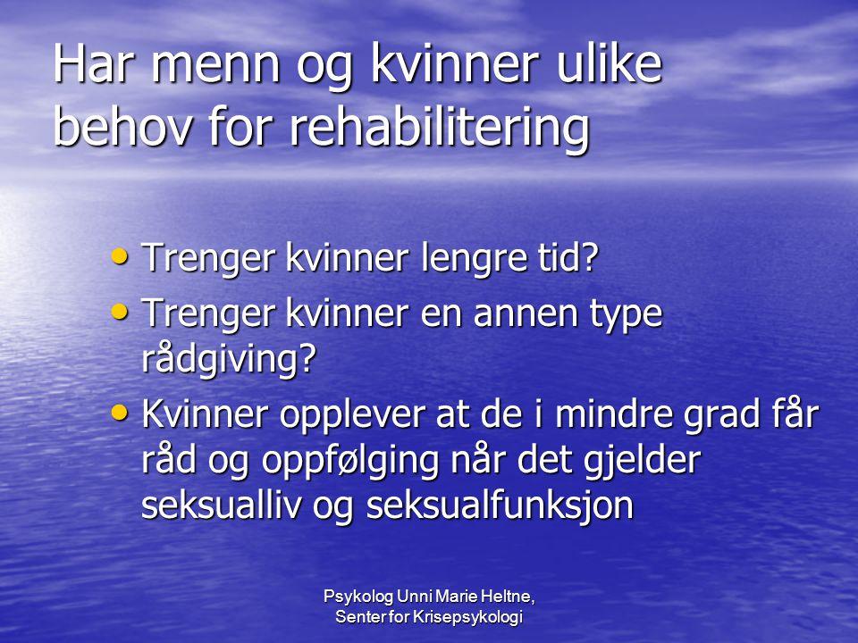 Har menn og kvinner ulike behov for rehabilitering