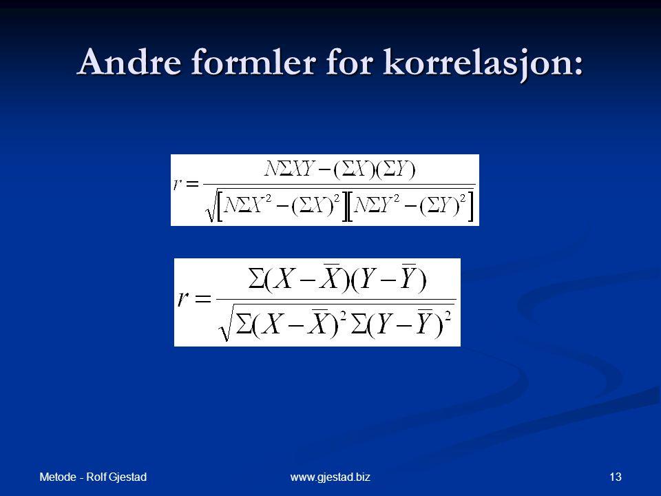 Andre formler for korrelasjon: