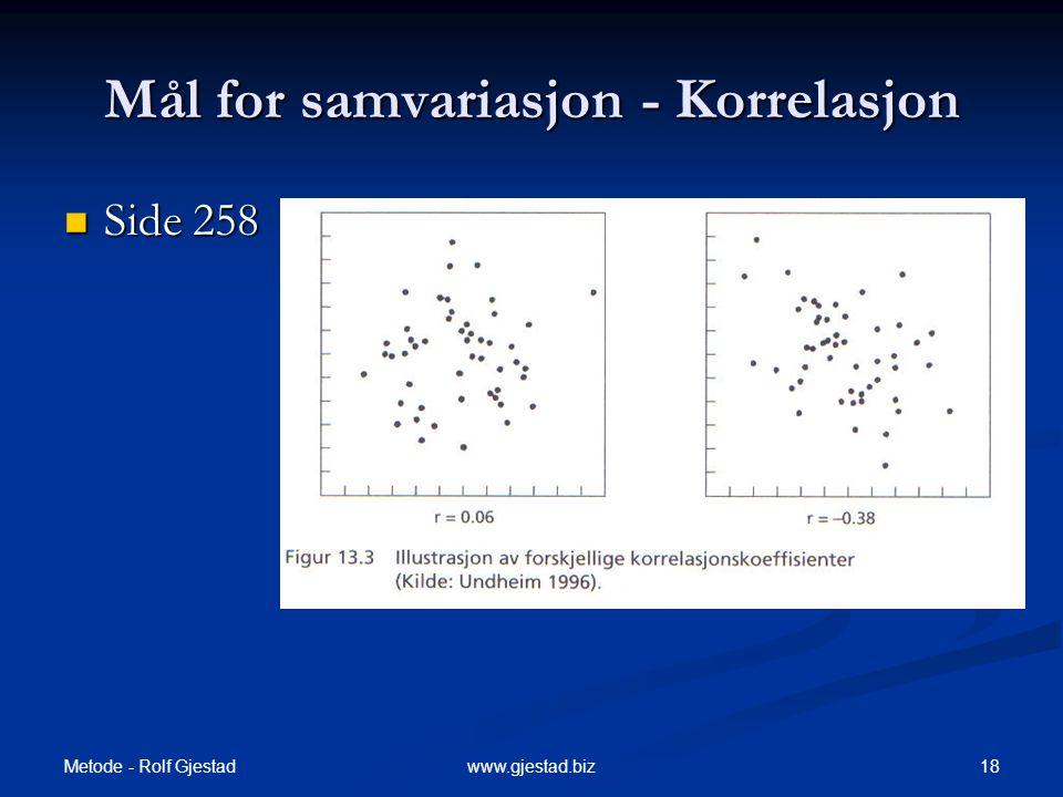 Mål for samvariasjon - Korrelasjon