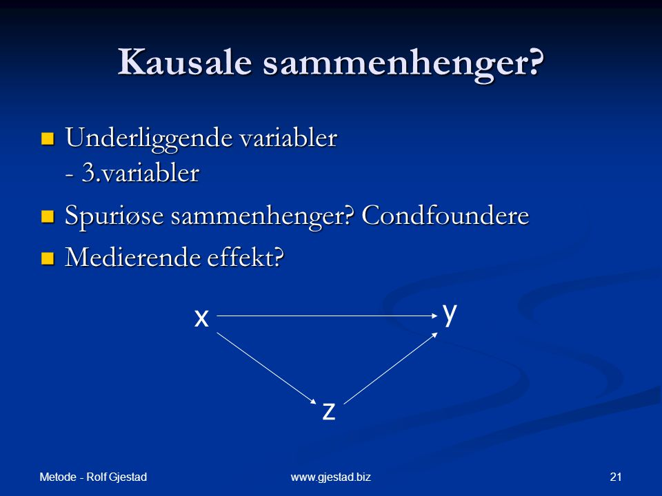 Kausale sammenhenger Underliggende variabler - 3.variabler