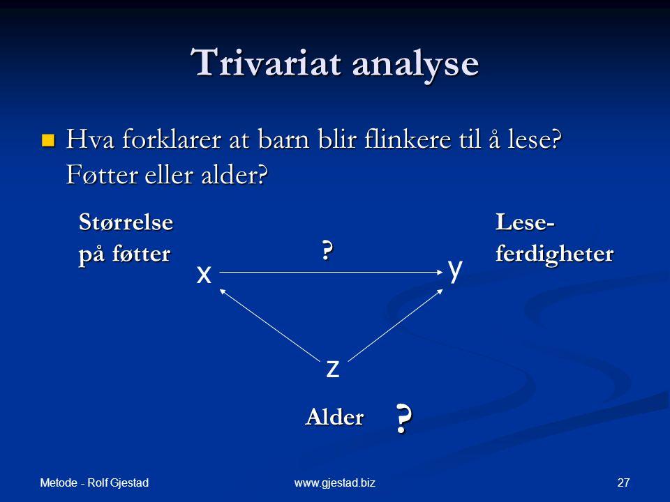 Trivariat analyse Hva forklarer at barn blir flinkere til å lese Føtter eller alder Størrelse. på føtter.