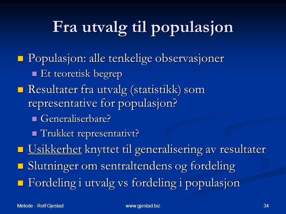 Fra utvalg til populasjon