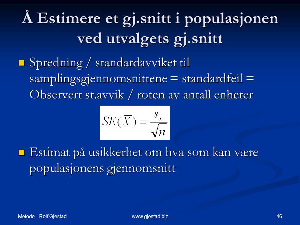 Å Estimere et gj.snitt i populasjonen ved utvalgets gj.snitt
