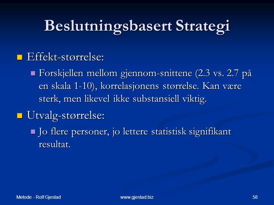 Beslutningsbasert Strategi