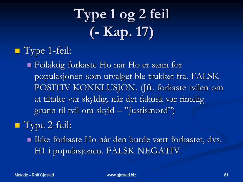 Type 1 og 2 feil (- Kap. 17) Type 1-feil: Type 2-feil: