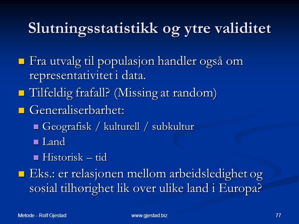 Slutningsstatistikk og ytre validitet