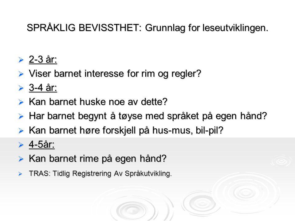 SPRÅKLIG BEVISSTHET: Grunnlag for leseutviklingen.