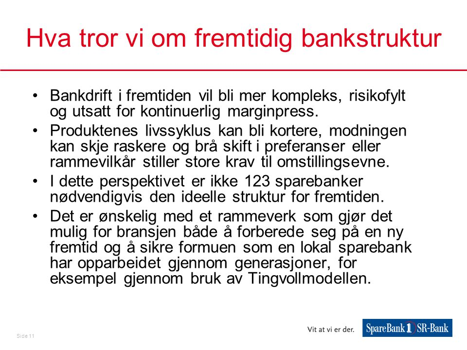 Hva tror vi om fremtidig bankstruktur