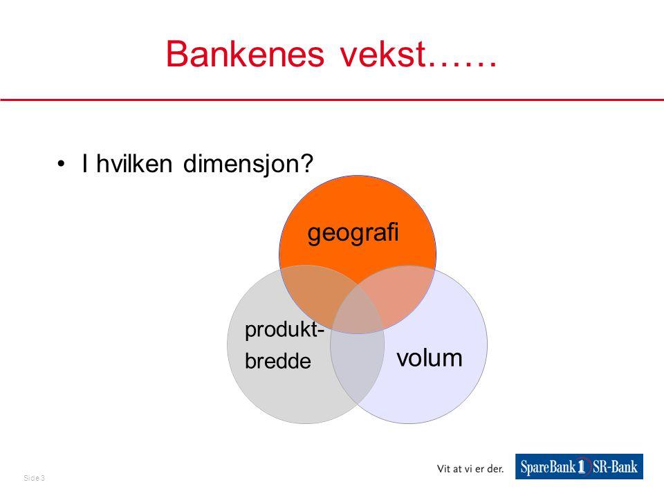 Bankenes vekst…… I hvilken dimensjon geografi produkt- bredde volum