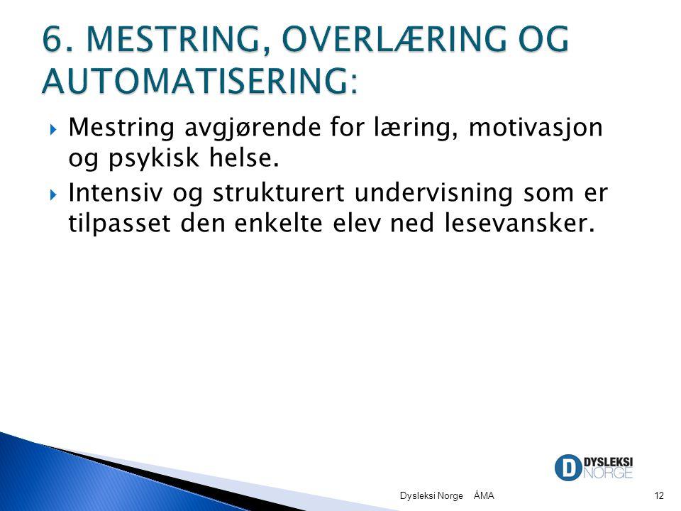 6. MESTRING, OVERLÆRING OG AUTOMATISERING: