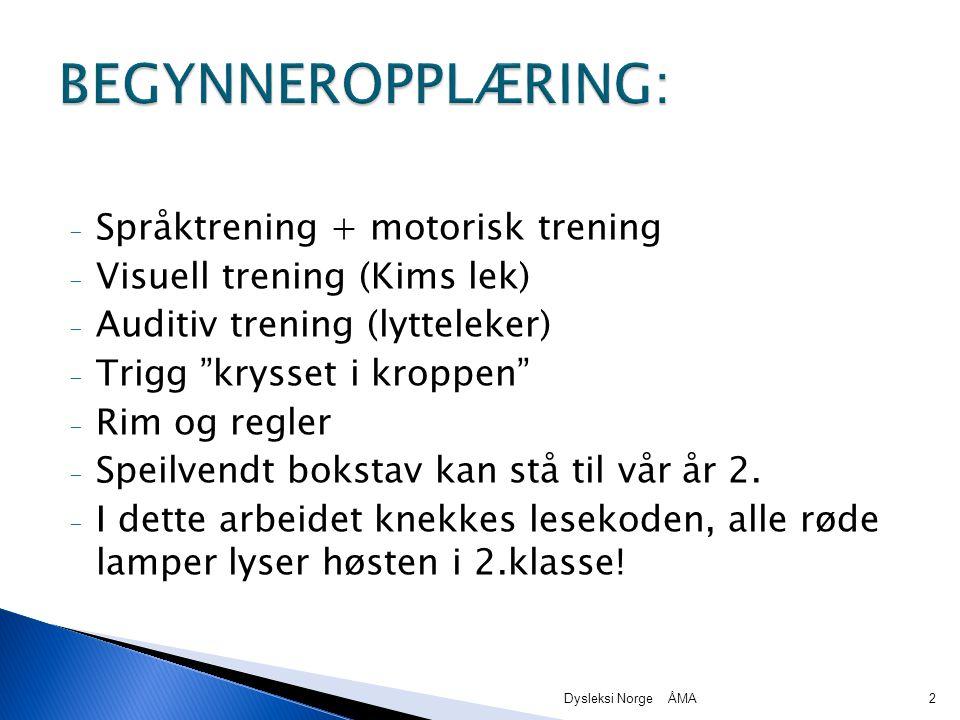 BEGYNNEROPPLÆRING: Språktrening + motorisk trening