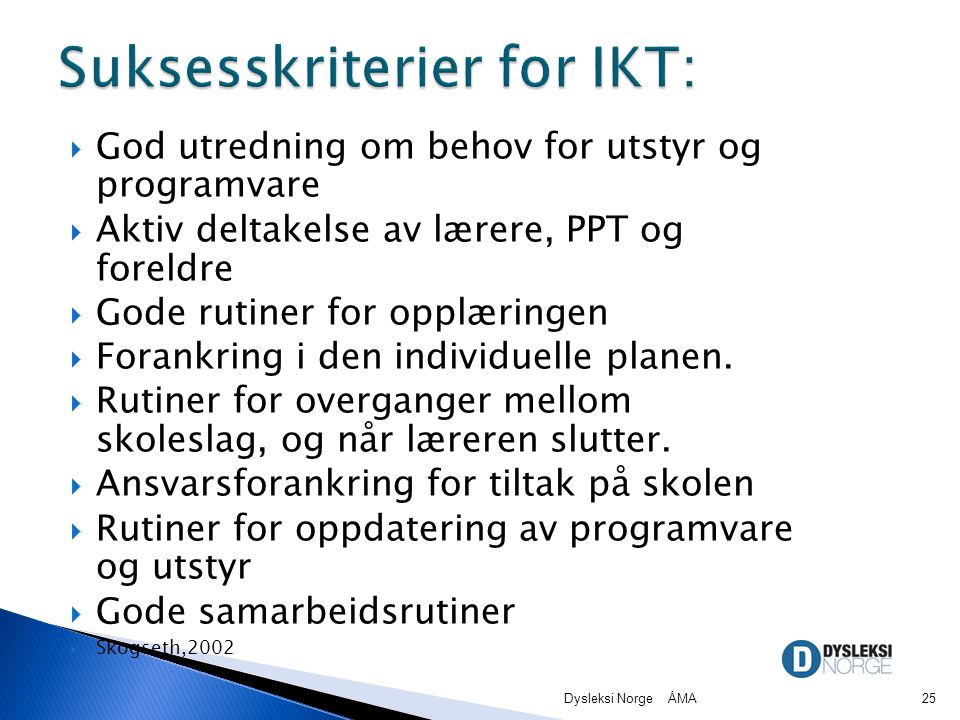 Suksesskriterier for IKT: