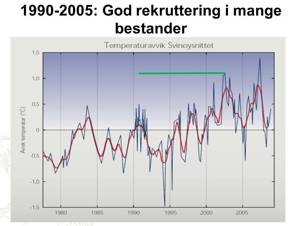 1990-2005: God rekruttering i mange bestander