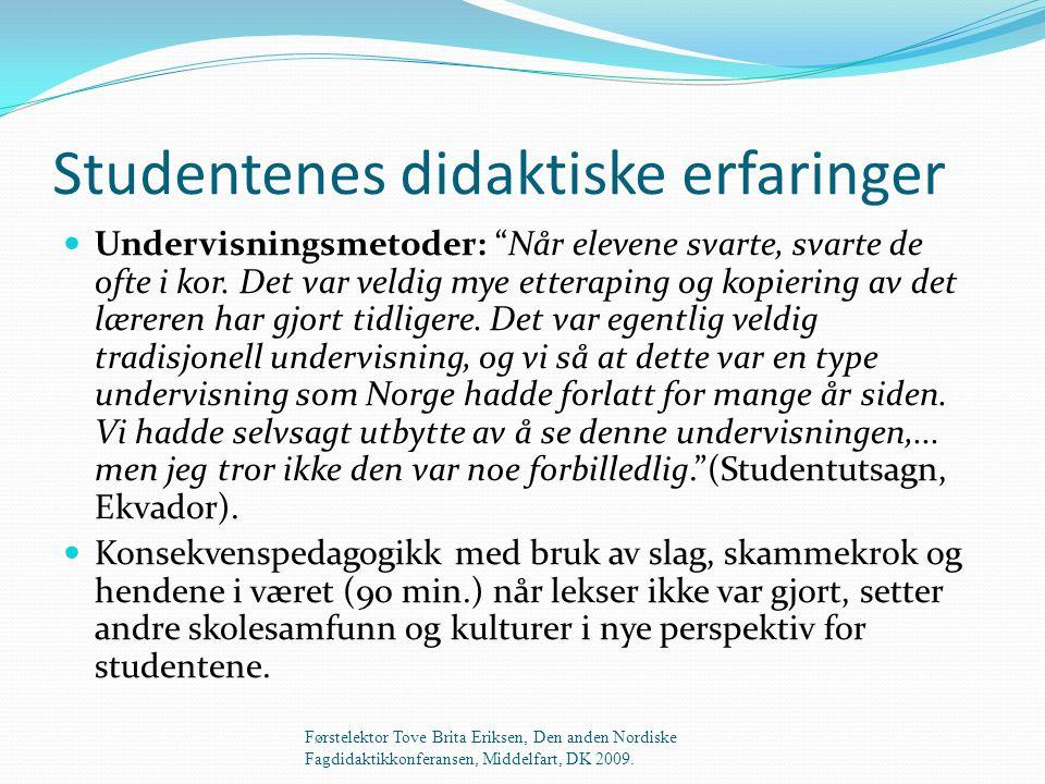 Studentenes didaktiske erfaringer