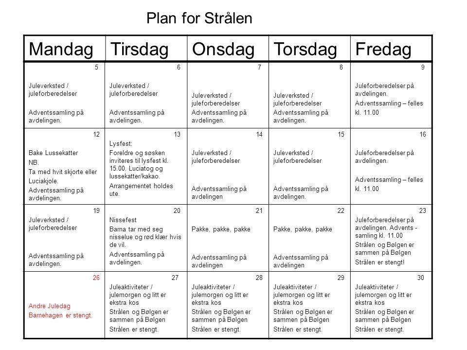Mandag Tirsdag Onsdag Torsdag Fredag Plan for Strålen 5