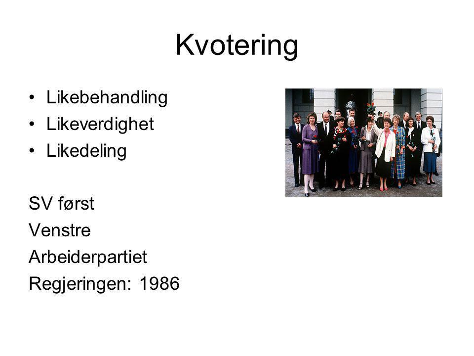 Kvotering Likebehandling Likeverdighet Likedeling SV først Venstre