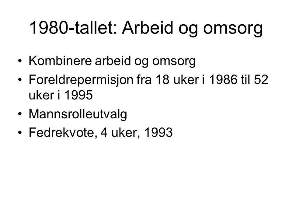 1980-tallet: Arbeid og omsorg