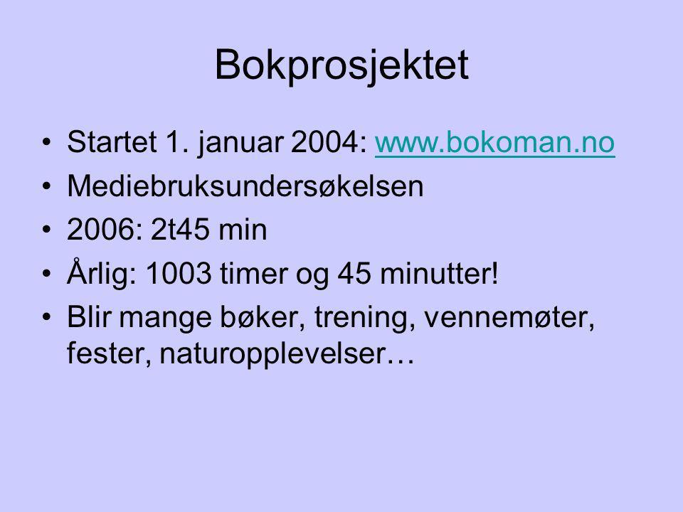 Bokprosjektet Startet 1. januar 2004: www.bokoman.no