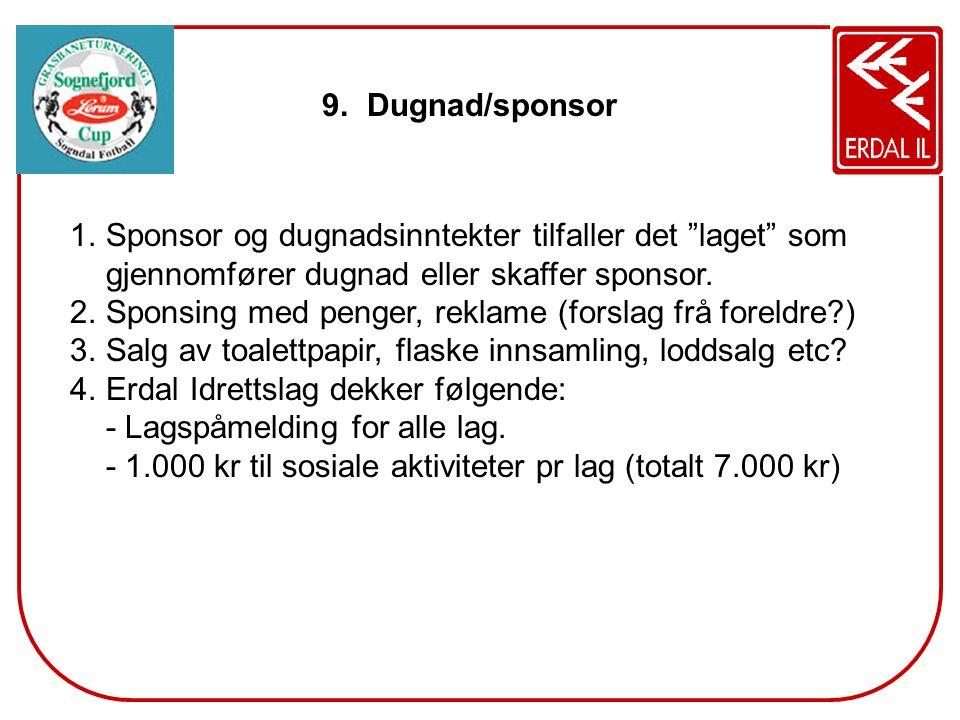 Dugnad/sponsor Sponsor og dugnadsinntekter tilfaller det laget som gjennomfører dugnad eller skaffer sponsor.