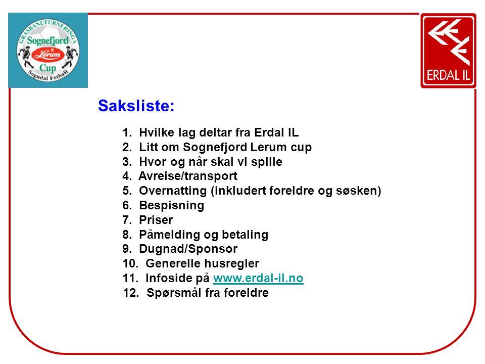 Saksliste: Hvilke lag deltar fra Erdal IL Litt om Sognefjord Lerum cup