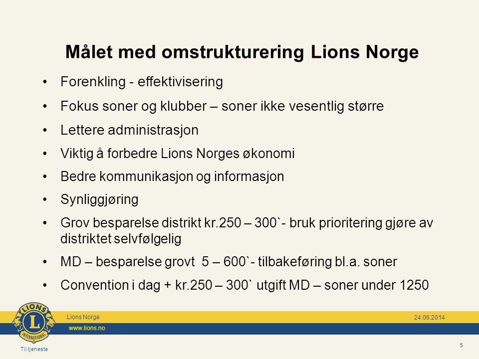 Målet med omstrukturering Lions Norge